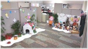 This is part of Mom's office where they decorated it as a Charlie Brown Christmas!